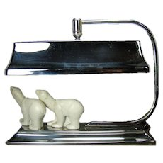 Art Deco Polar Bear Chrome Desk Lamp