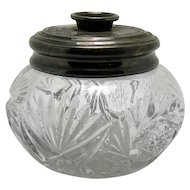 Heisey Pressed Glass Silver Plated Hair Receiver