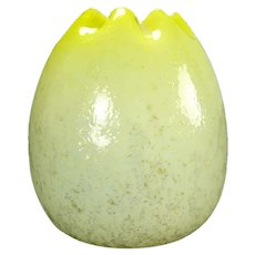 Opalescent Yellow Egg-Shaped Victorian Spangle Glass Rose Bowl
