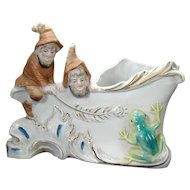 Bisque Elves and Frogs Planter - Turn of The Century