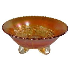 Marigold Carnival Glass Grape and Leaf Pattern Bowl