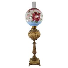 Massive Victorian Marble Base Banquet Lamp with Hand Painted Globe