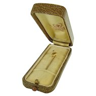 14K Gold Stick Pin with Sapphire and Original Jeweler's Box - Westfield New York