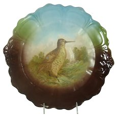 Large Bavarian Porcelain Game Plate with Woodcock