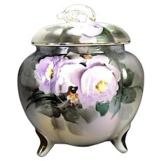 Signed Noritake Hand Painted Biscuit Jar