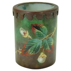 Hand Painted Enameled Opalene Glass Toothpick Holder with Bronze Mount