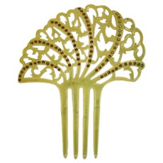 Light Amber Mantilla Hair Comb with Amber Rhinestones