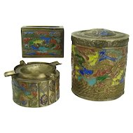 Brass and Enameled Chinese Smoke Set with Dragon in Relief - 1920's