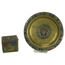 Chinese Brass and Enamel Stamp Box and Tray - 1920's