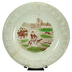 Ceramic ABC's Plate with Hunting Scene - 1870's