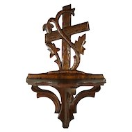 Black Forest Walnut Folding Carved Curio Shelf