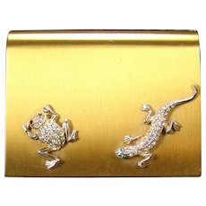 Art Deco Wadsworth Ladies Compact with Jeweled Lizard and Frog