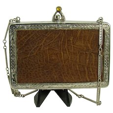 Ladies Carry-all Compact with Leather and Topaz Clasp