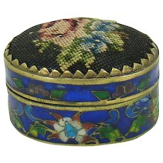Cloisonne and Brass Pill Box with Petit Point Lid - 1890's