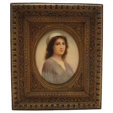 Hand Painted KPM Porcelain Plaque with Beautiful Woman - 1880's