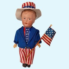 """Gebruder Heubach Character boy, Patriotic 4th of July outfit, 7"""" tall"""