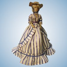 Wax Candy Container doll, French, Tagged Marly, Paris, 14""