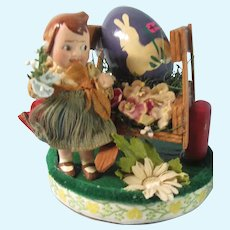 All bisque German Googly with Easter cart
