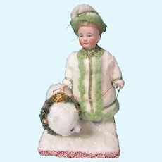 """German All Bisque """"Snow Princess"""" with Bear"""
