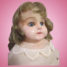"German Wax-Over composition shoulder head doll 19"""