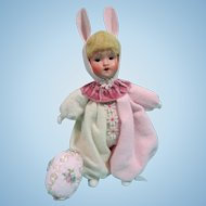 Painted bisque girl by Goebel, as a bunny