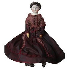 """Dolley Madison China head, 20"""" Antique body and dress"""