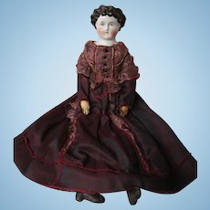 "Dolley Madison China head, 20"" Antique body and dress"