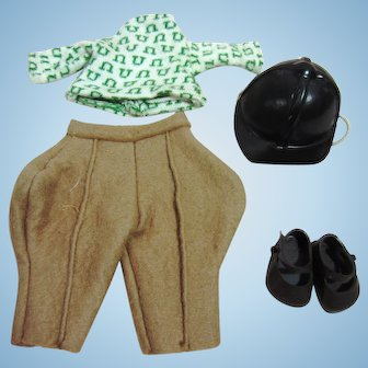 Riding outfit for Ginny, 1956-60, Top, pants, hat and shoes