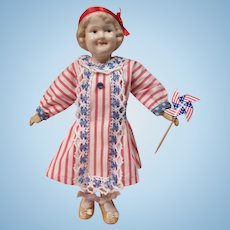 """All Composition Coquette, 10"""" jointed body, 4th of July outfit"""