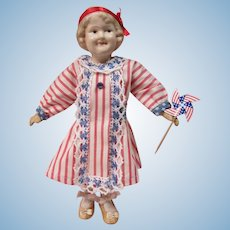 "All Composition Coquette, 10"" jointed body, 4th of July outfit"