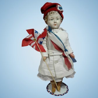 """Early composition Doll """"Can't Break  'Em"""" type, 16"""" Patriotic Girl"""