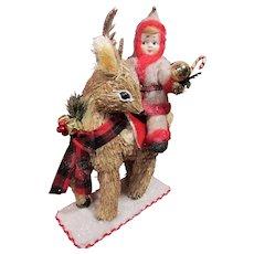 Nippon Googly Christmas Elf on his Deer