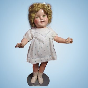 """Shirley Temple 18"""" Ideal composition, with original wig"""