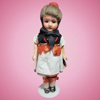 "Armand Marseilles painted bisque ethnic costume girl all original, 11"""