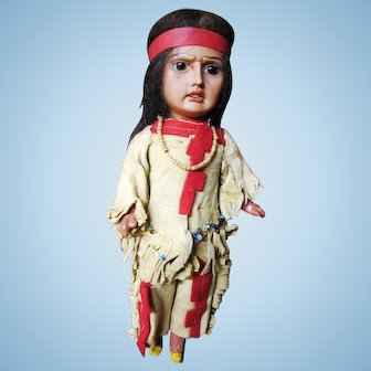 """Scowling Indian, German bisque, leather outfit, 11"""""""