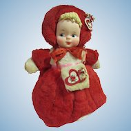 Plush Valentine girl with molded cloth face