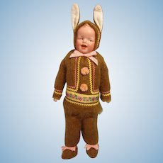 "Gebruder Heubach 8191 Chocolate Easter Bunny Boy, 14"""
