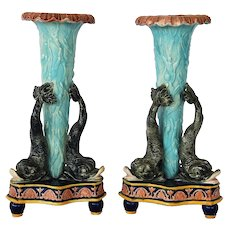 Pair Of Antique Majolica Dolphin/Seaweed Vases