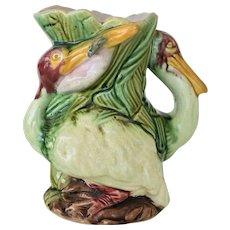 Rare Antique Majolica Pelican Pitcher C1880