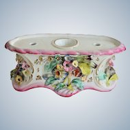 Antique Victorian Staffordshire Floral Inkwell