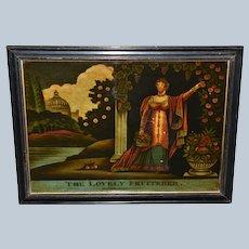 """C1810 Georgian Reverse Print On Glass Mezzotint ~ """"The Lovely Fruiterer"""""""
