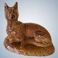 Antique  Brown Stoneware Fox