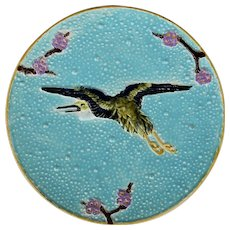 C1880 Victorian Majolica Flying Heron Plate By Joseph Holdcroft #3