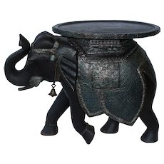 Lovely Carved Wood Elephant Side Table/Plant Stand