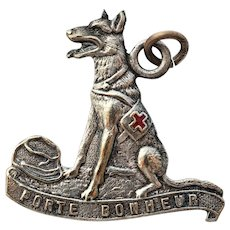 "WW1 French Red Cross Dog Fund Raising Medal ~ ""Porte Bonheur"""