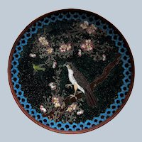 Japanese Meiji Period Cloisonne Plate Decorated With Hawk