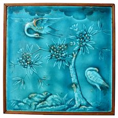 C1873 Antique Minton Aesthetic Tile With Herons