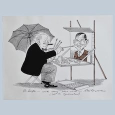 Original Peter Brookes Cartoon ~ Winston Churchill