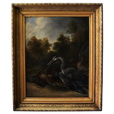 Antique English School Oil Painting ~ Birds of Prey Attacking Heron
