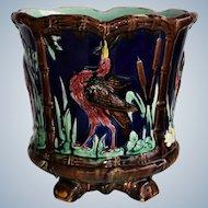 Antique Thomas Forester Majolica ~ Heron Jardiniere Cachepot